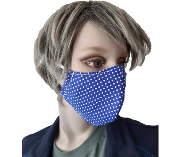 Mund-Nasenschutz Punkte Gr. M - blau/weiß