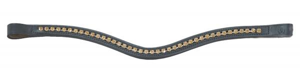Stirnband Tiffany Crystals geschwungen - schwarz/lt.col.topas
