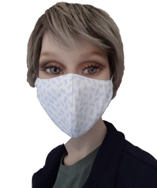Mund-Nasen-Schutz Schleife Gr. M - weiß-blau