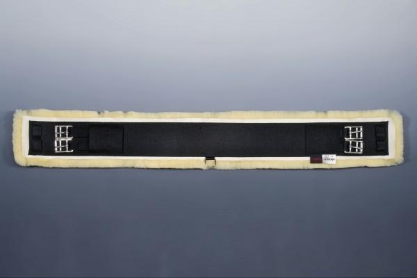 Sattelgurt m.Fell, eins. elast - schwarz/natur