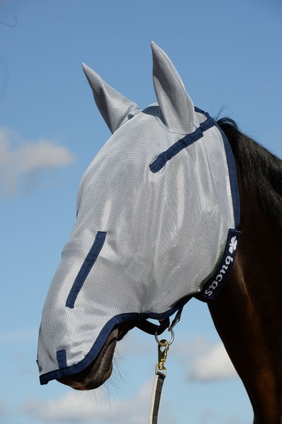 Full face Fly Mask - silver/blue