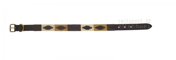 Lederhalsband Polo Style - braun-beige